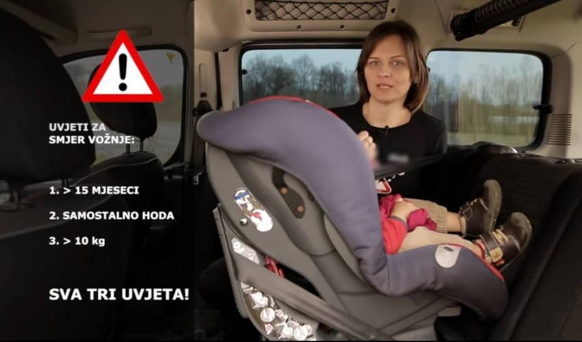 Vezanje djeteta u autosjedalicu suprotno od smjera vožnje